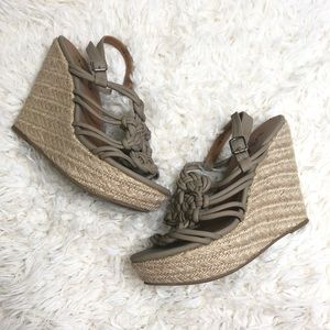 Mia braided taupe espadrille wedges size 7.5